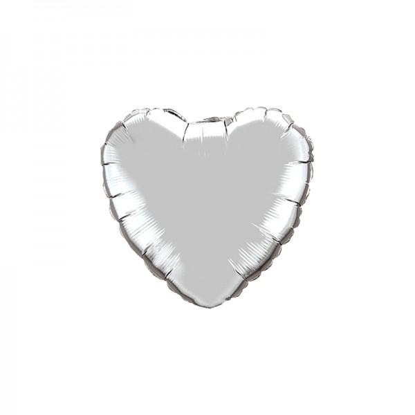 Folienballon Herz Silber - 45cm