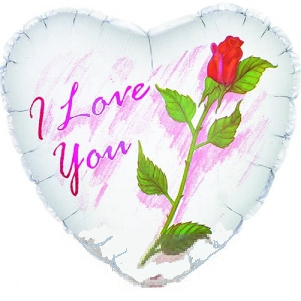 I Love You White with Red Rose Folienballon - 45cm