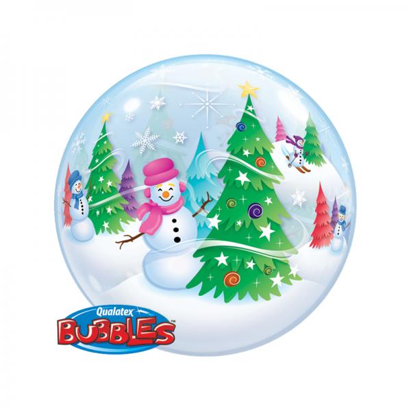 """Qualatex Bubble Weihnachtsbaum und Schneemann 22"""" 56cm Luftballon"""