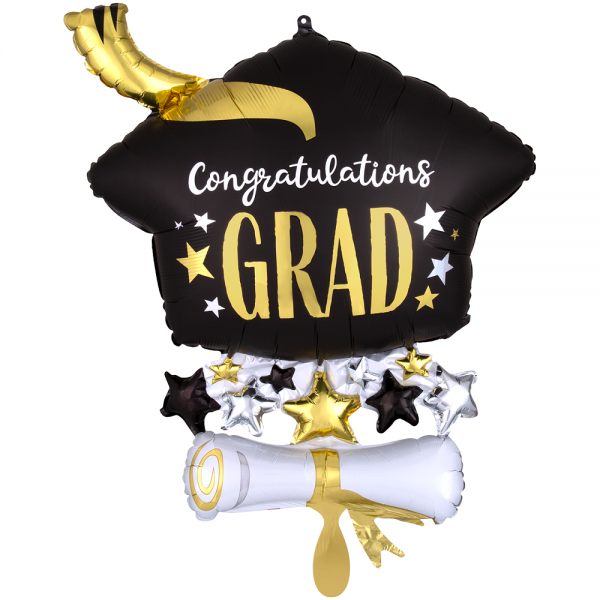 Congratulations Grad Black Diplom Mütze Folienballon - 63cm 24''