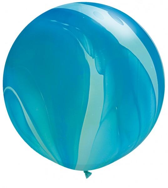 Riesenluftballon Blue (Blau) SuperAgate Latex Ballons 75cm