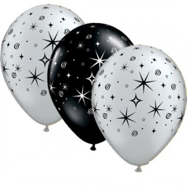 "Sparkles and Swirls silber und schwarz 27,5cm 11"" Latex Luftballons Qualatex"