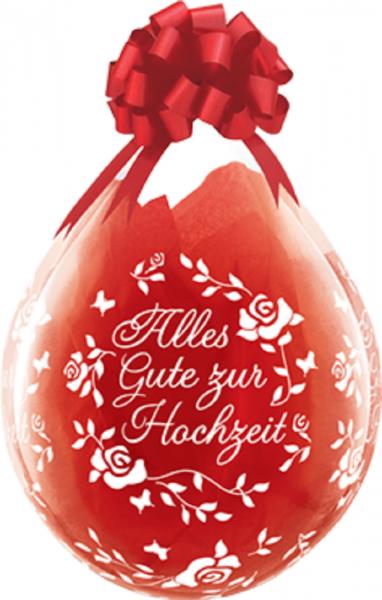 "Verpackungsballons Alles Gute zur Hochzeit Rose 45cm 18"" Qualatex Stuffer"