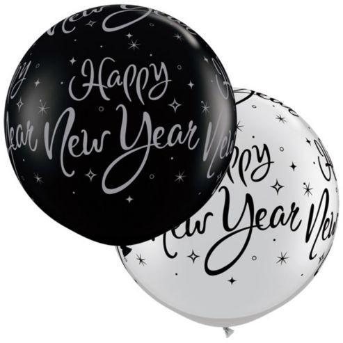 Riesenluftballon Happy new year (Silvester) schwarz & silber 90cm