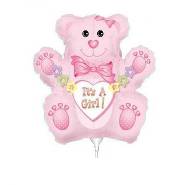 Mini Folienballon Baby Bär Mädchen - 35cm