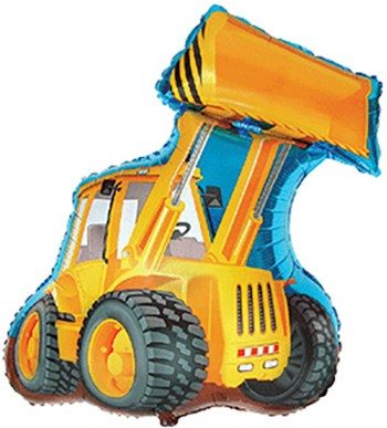 gelber Radlader / Excavator Folienballon - 81cm
