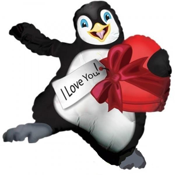 Tanzender Pinguin mit Herz Folienballon - 91cm
