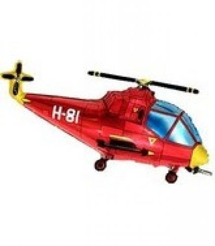 Helicopter rot Folienballon - 96cm