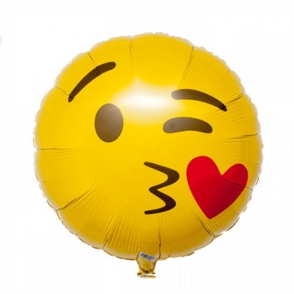 Smiley Face Kiss gelb Emoji Folienballon