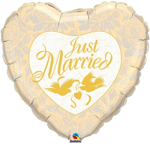 Just married Herz mit Tauben gold - in 91cm