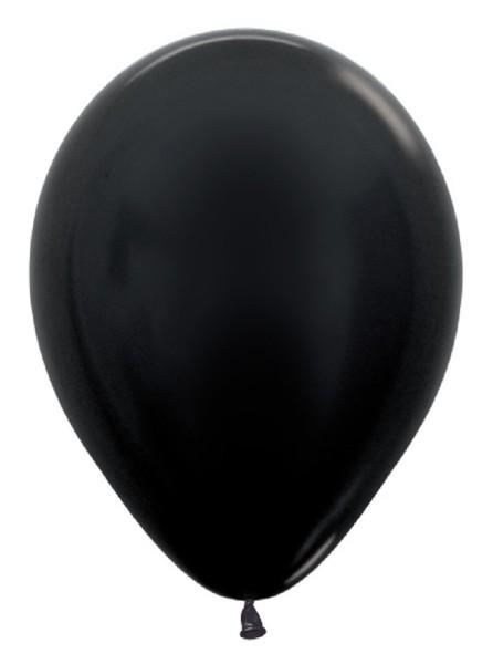 "Sempertex 580 Metallic Black (Schwarz) 30cm 12"" Latex Luftballons"