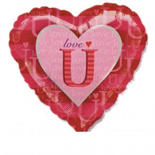 Folienballon Love U Pink Herz - 45cm