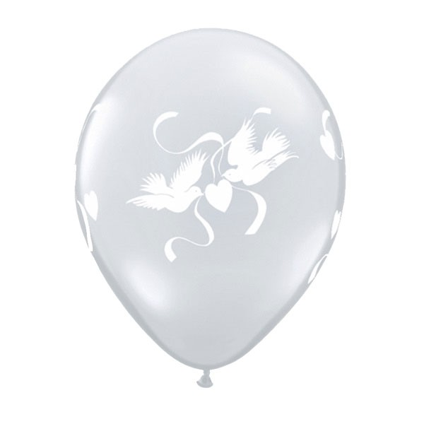 """Hochzeit Love Doves (diamond clear) weiße Tauben 27,5cm 11"""" Latex Luftballons Qualatex"""