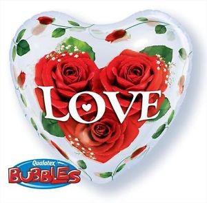 Qualatex Bubbles Luftballons Herz aus Rosen - 55cm
