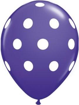 Big Polka Dots Purple Violet Latex Ballons - 27,5cm