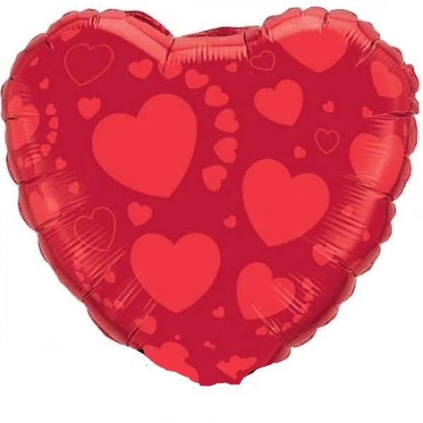 Herz mit Herzen rot Folienballon - 45 cm