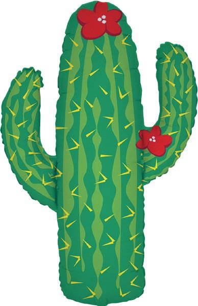 Kaktus mit roten Blüten Folienballon - 104cm