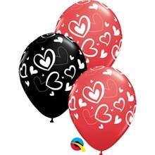 """Herzen Mix & Match Hearts 27,5cm 11"""" Latex Luftballons Qualatex"""