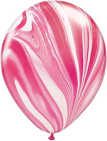 Qualatex Latex Ballons Red White Rainbow SuperAgate Regenbogen rot marmoriert - 27,5cm