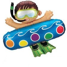Junge im Schwimmring Folienballon - 101cm