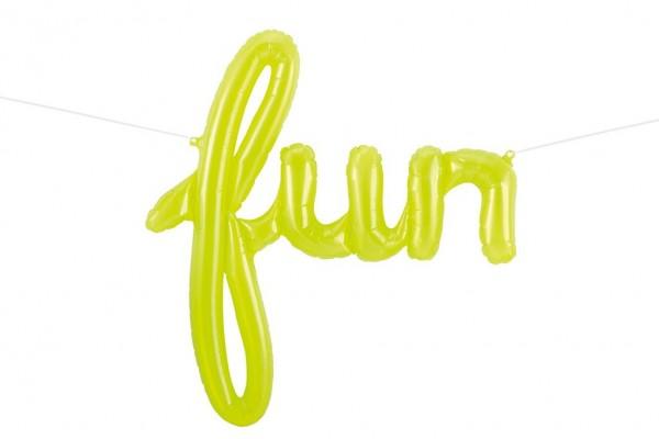 Schriftzug Folienballon Set lime green FUN 69 x 74cm