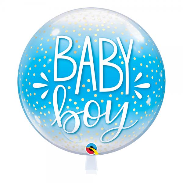 """Qualatex Bubble Baby Boy Blue & Confetti Dots 22"""" 56cm Luftballon"""