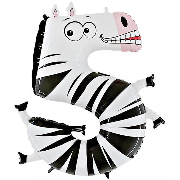 Tierische Zahlen 5 Zebra Folienballon