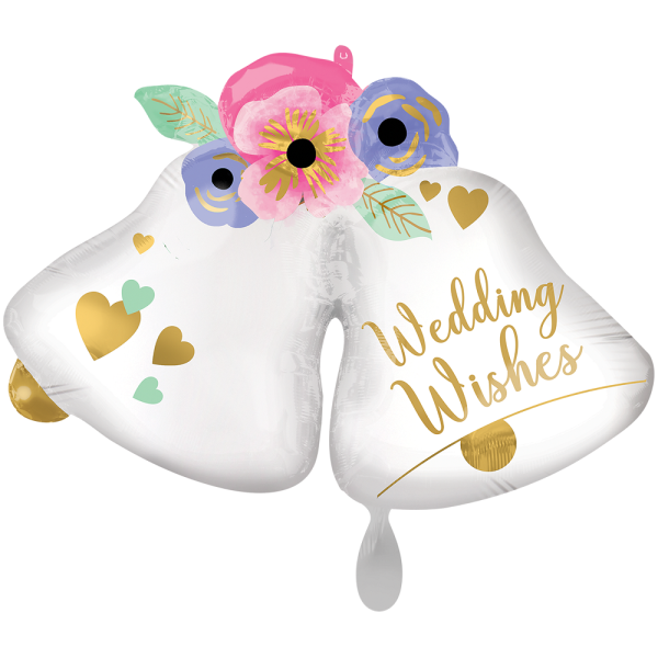 Wedding Bells Hochzeitsglocken Folienballon - 83cm 33''