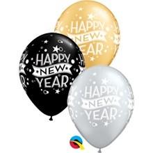 "Happy New Year Confetti Dots 27,5cm 11"" Latex Luftballons Qualatex"
