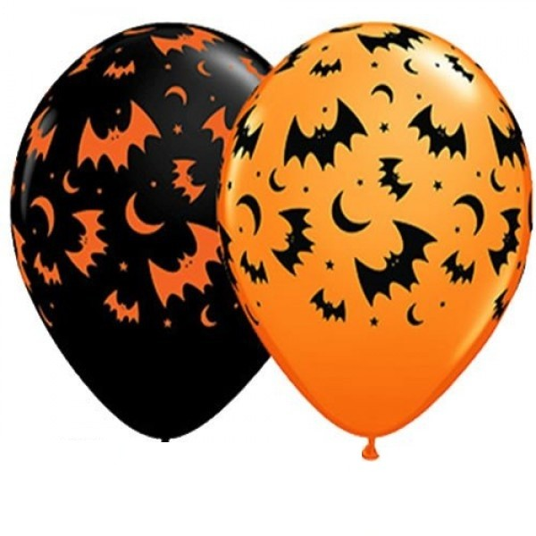 "Qualatex Flying Bats und Moons Fledermaus und Mond 27,5cm 11""Latex Luftballon"
