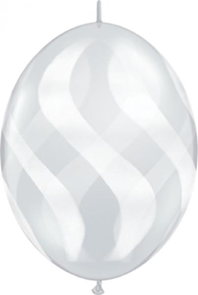 "QuickLink Wavy Stripes Diamond Clear 30cm 12"" Latex Luftballons Qualatex"