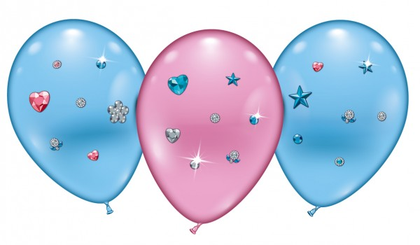 4 Ballons Hearts und Stars Jewels Latex Luftballon ca. 23cm