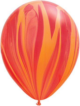 "Qualatex SuperAgate Red Orange Rainbow Regenbogen rot orange marmoriert 27,5cm 11"" Latex Luftballons"