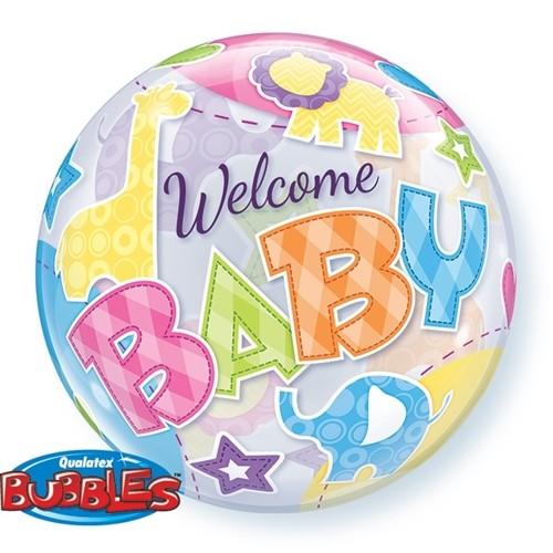 Qualatex Bubbles Luftballons 'Welcome Baby' Geburt