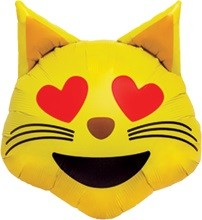 Smiley Face gelb Emoji Cat Heart Eyes Folienballon - 56cm