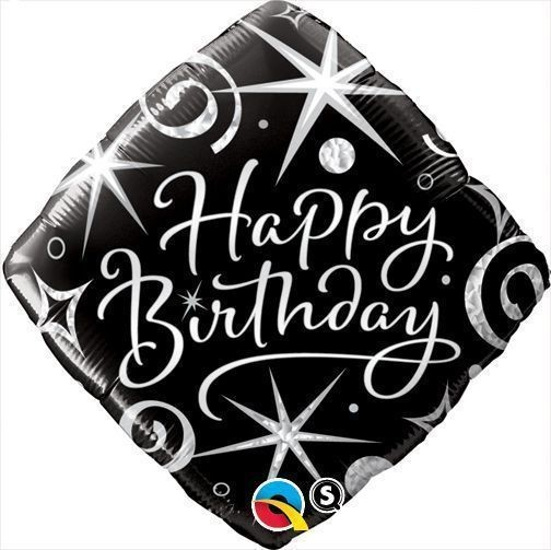 Happy Birthday Diamond Black Folienballon - 45cm