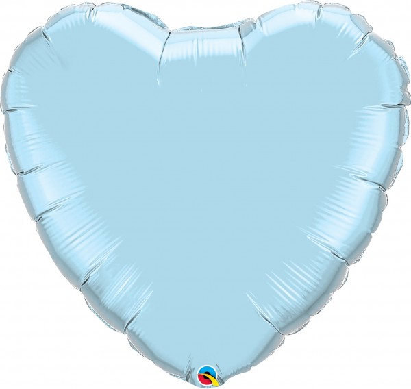 Folienballon Herz Pearl Light Blue (Blau) - 90cm