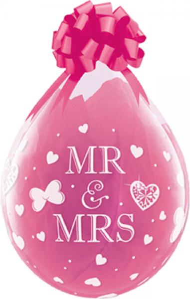 """Verpackungsballons Mr und Mrs 45cm 18"""" Qualatex Stuffer"""