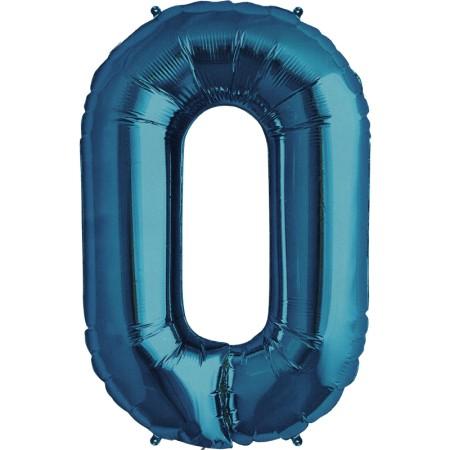 North Star Folienballon Zahl 0 (Blau/Blue) - 86cm