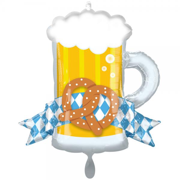 Oktoberfest Bierkrug Brezel Folienballon - 66cm 26''