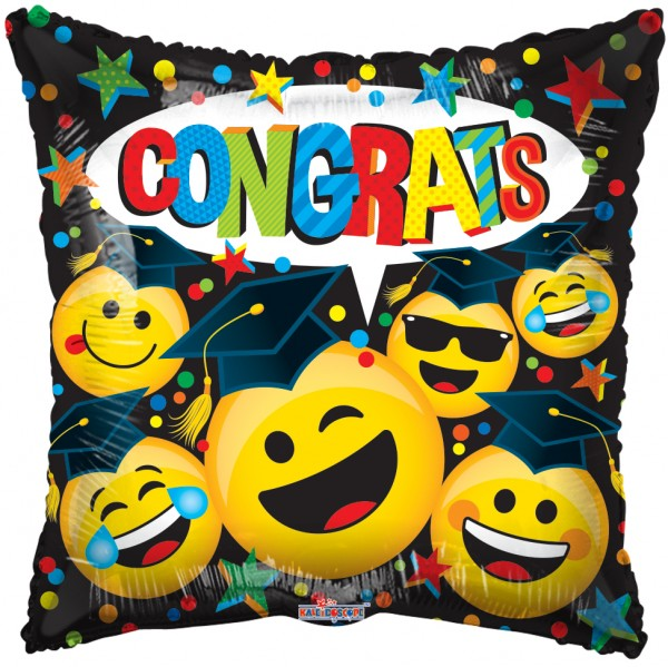 Congrats Graduation Smilies Folienballon - 45cm