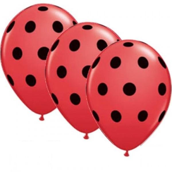 "Polka Dots rot / schwarz 27,5cm 11"" Latex Luftballons Qualatex"