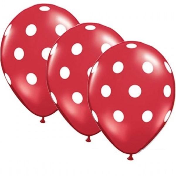 "Polka Dots rot / weiß 27,5cm 11"" Latex Luftballons Qualatex"