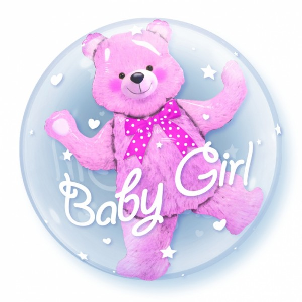 """Qualatex Double Bubble Baby Girl 24"""" 61cm Luftballon"""