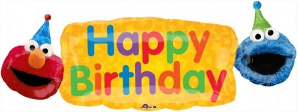 "Happy Birthday Elmo und Krümelmonster Sesamstraße Folienballon - 107cm 42"""