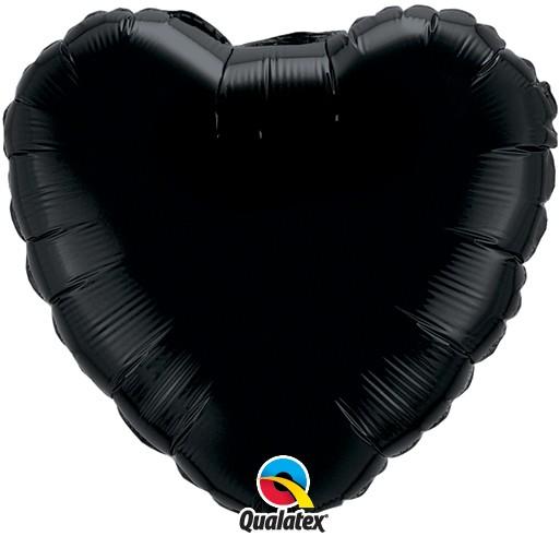 Folienballon Herz Schwarz - 45cm