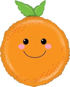 Orange mit Gesicht Folienballon - 66cm
