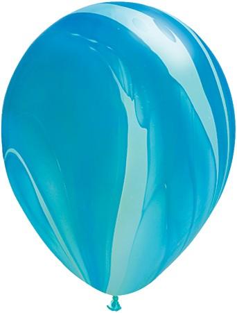 "Qualatex SuperAgate Blue Rainbow Regenbogen blau marmoriert 27,5cm 11"" Latex Luftballons"