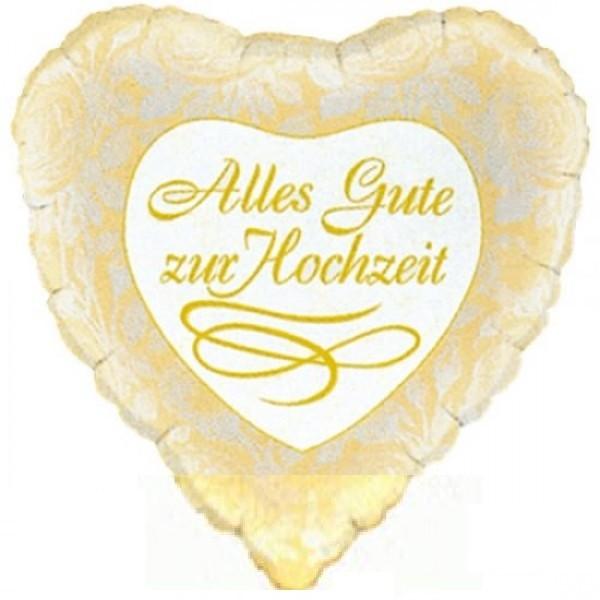 Alles Gute zur Hochzeit Herz Folienballon - 45cm