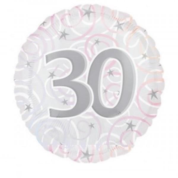 30 für Jubiläum Geburtstag Jahrestag Folienballon - 45cm